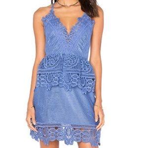 Self portrait blue azalea lace mini dress US 0